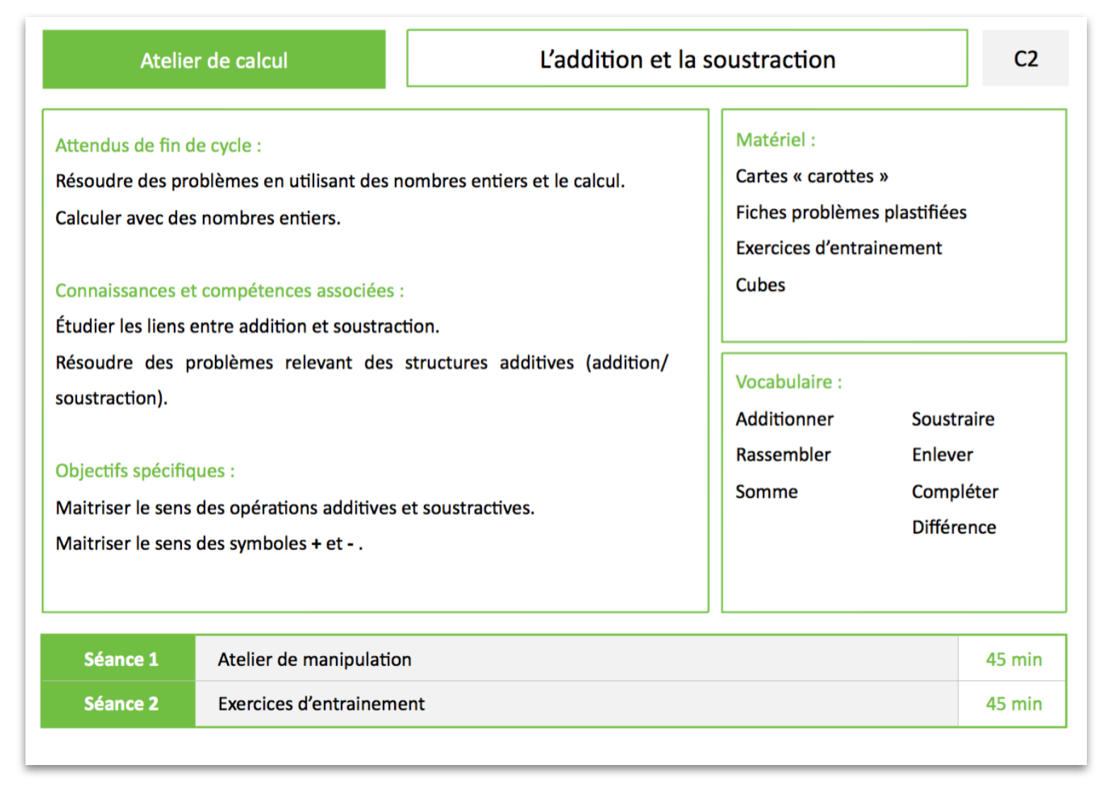 Atelier calcul - L'addition et la soustraction
