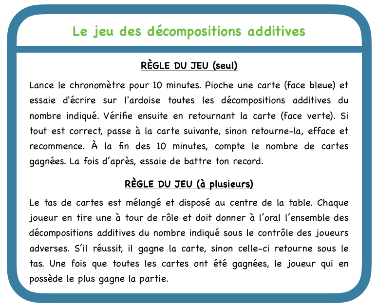 Le jeu des décompositions additives