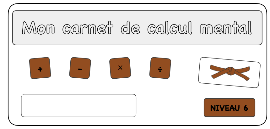 Carnet de calcul mental - Ceinture marron