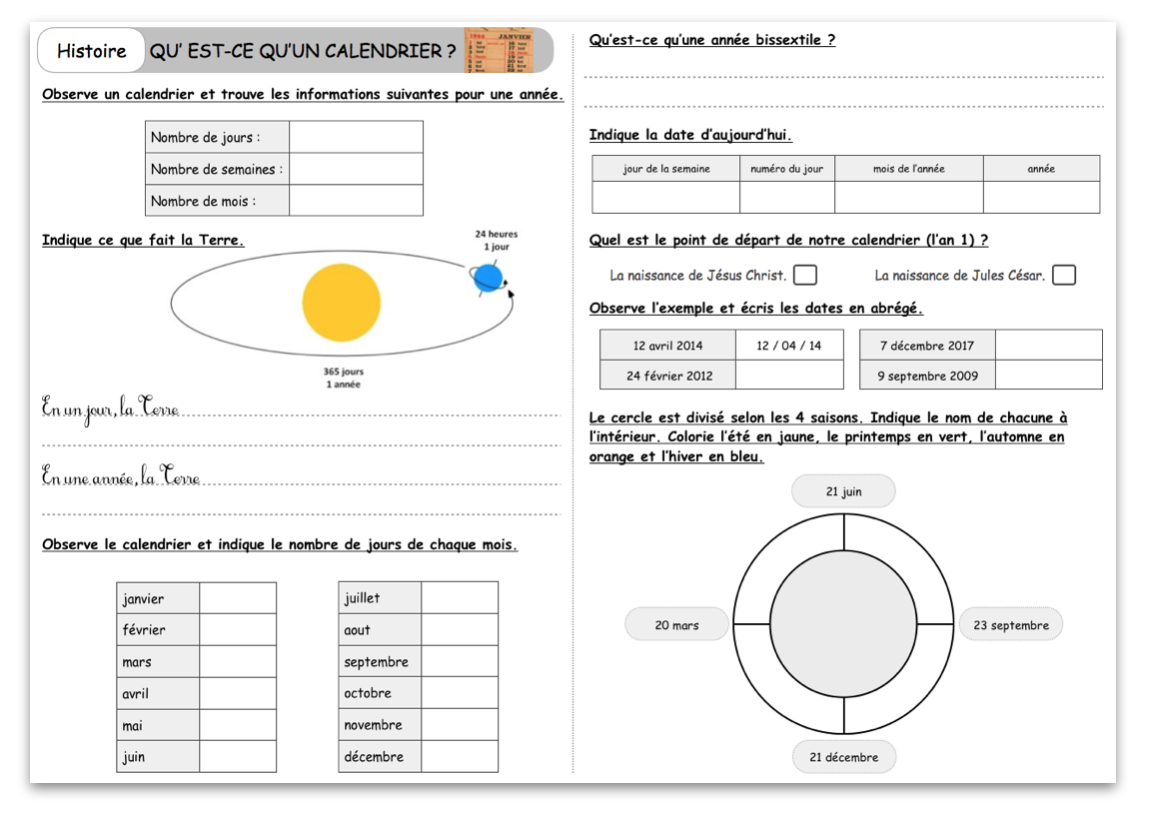 Evaluation Calendrier Ce1.Le Calendrier Le Blog Du Cancre
