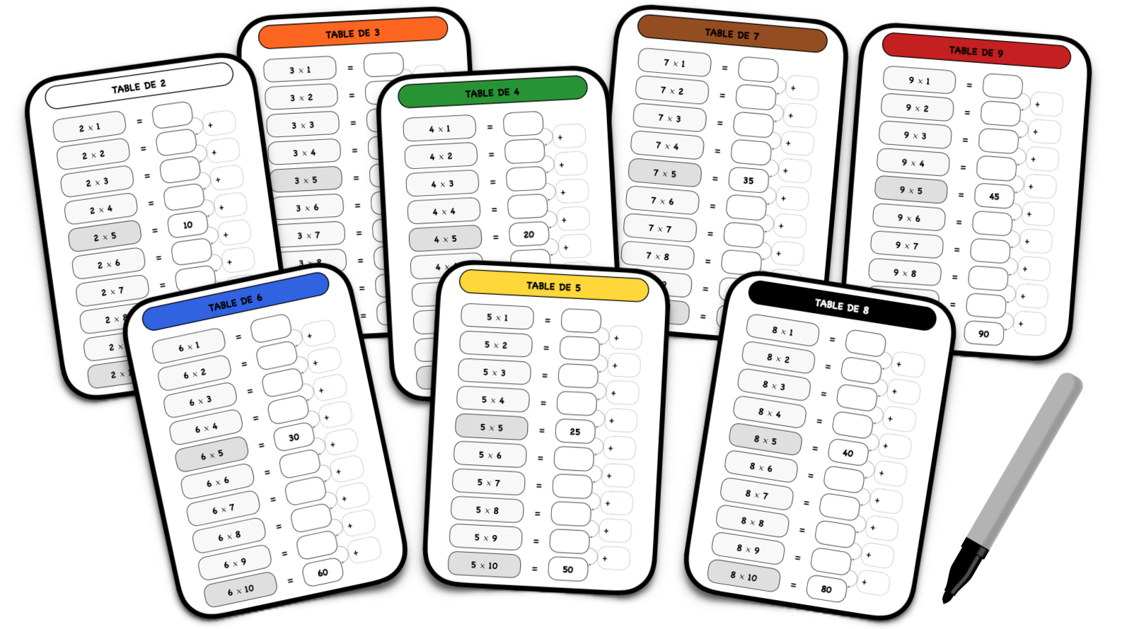 Tables de multiplication autocorrectives le blog du cancre - Apprentissage des tables de multiplication ...