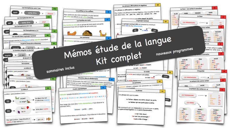 Mémos étude de la langue CE1-CE2